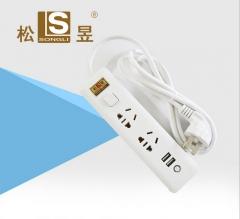 厂家2USB智能电源插多功能USB快充电安全插线板/插排/接线/拖线板 白色 不带线