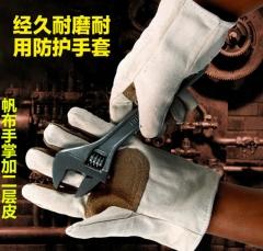 帆布双层加厚手套 劳保二层加里电焊手套批发 耐油耐磨耐用线牢固 均码10双一打 本白
